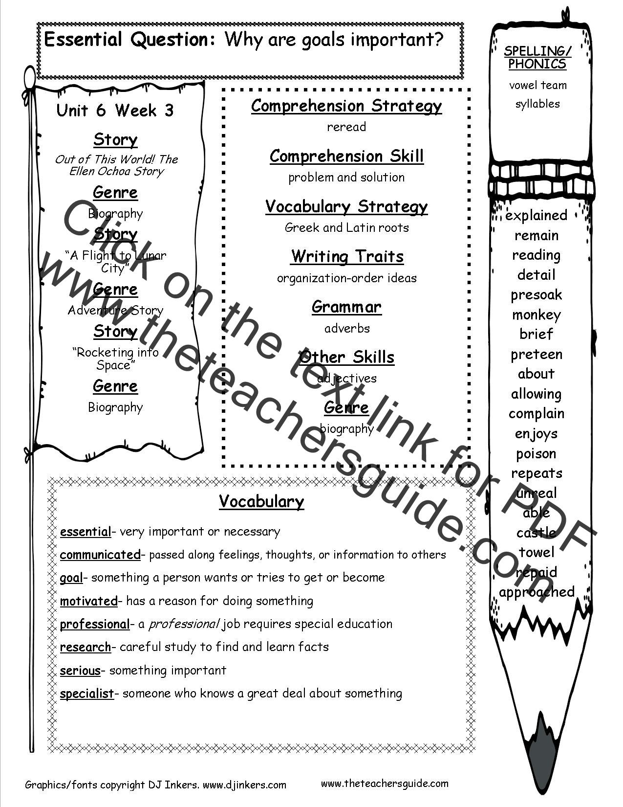Wonders Third Grade Unit Six Week Three Printouts
