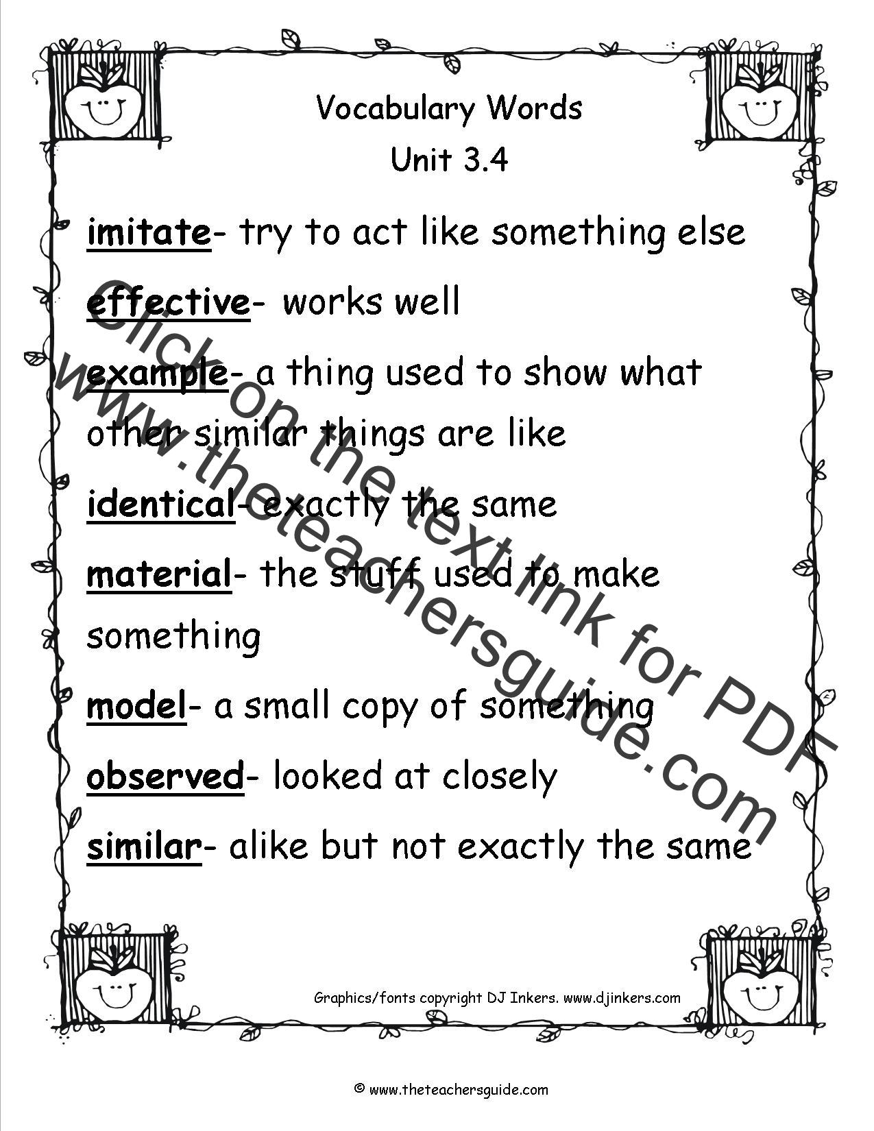Wonders Third Grade Unit Three Week Four Printouts