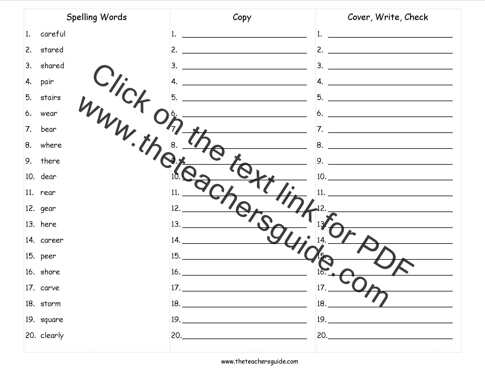 Blank Spelling Test Paper 2nd Grade