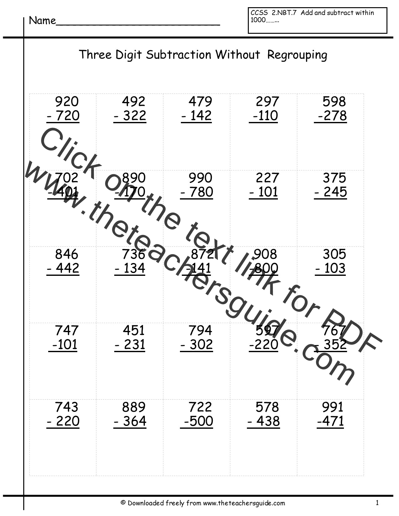 Download Three Digit Addition And Subtraction Worksheet