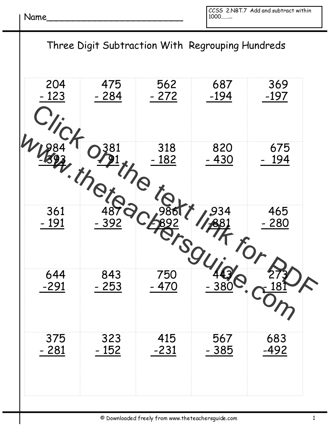 Math Worksheets 3 Digit Addition