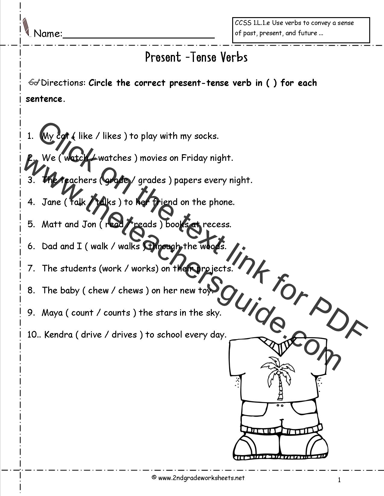 Verbs Present Past Worksheet First Grade