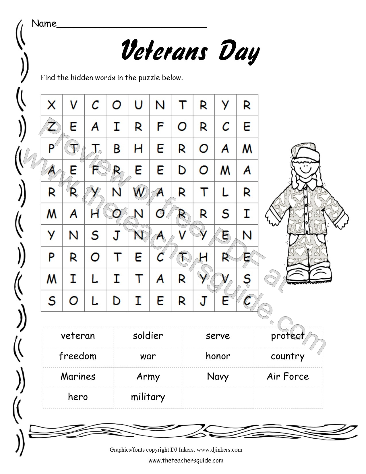 Veterans' Day Lesson Plans, Themes, Printouts, Crafts