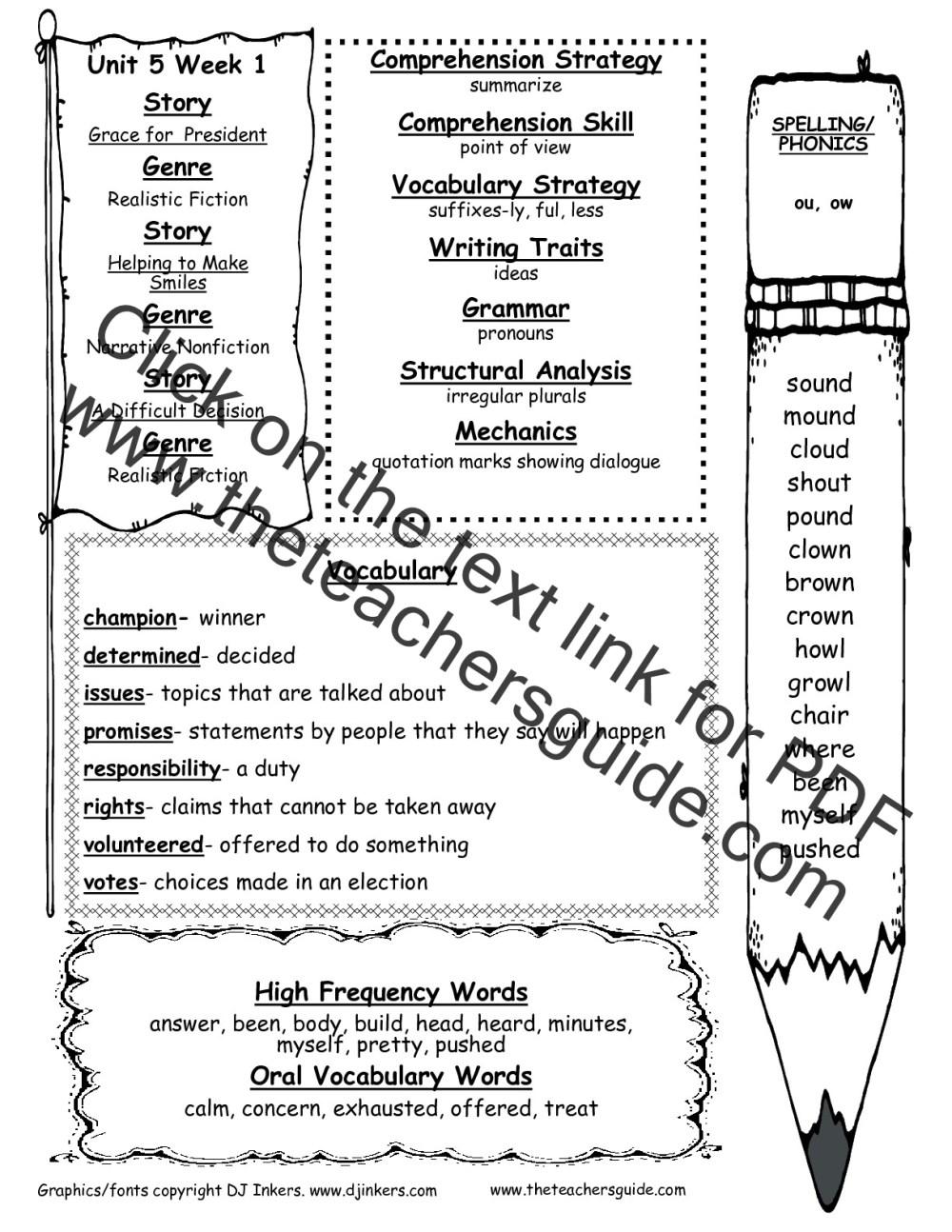 medium resolution of Wonders Second Grade Unit Five Week One Printouts
