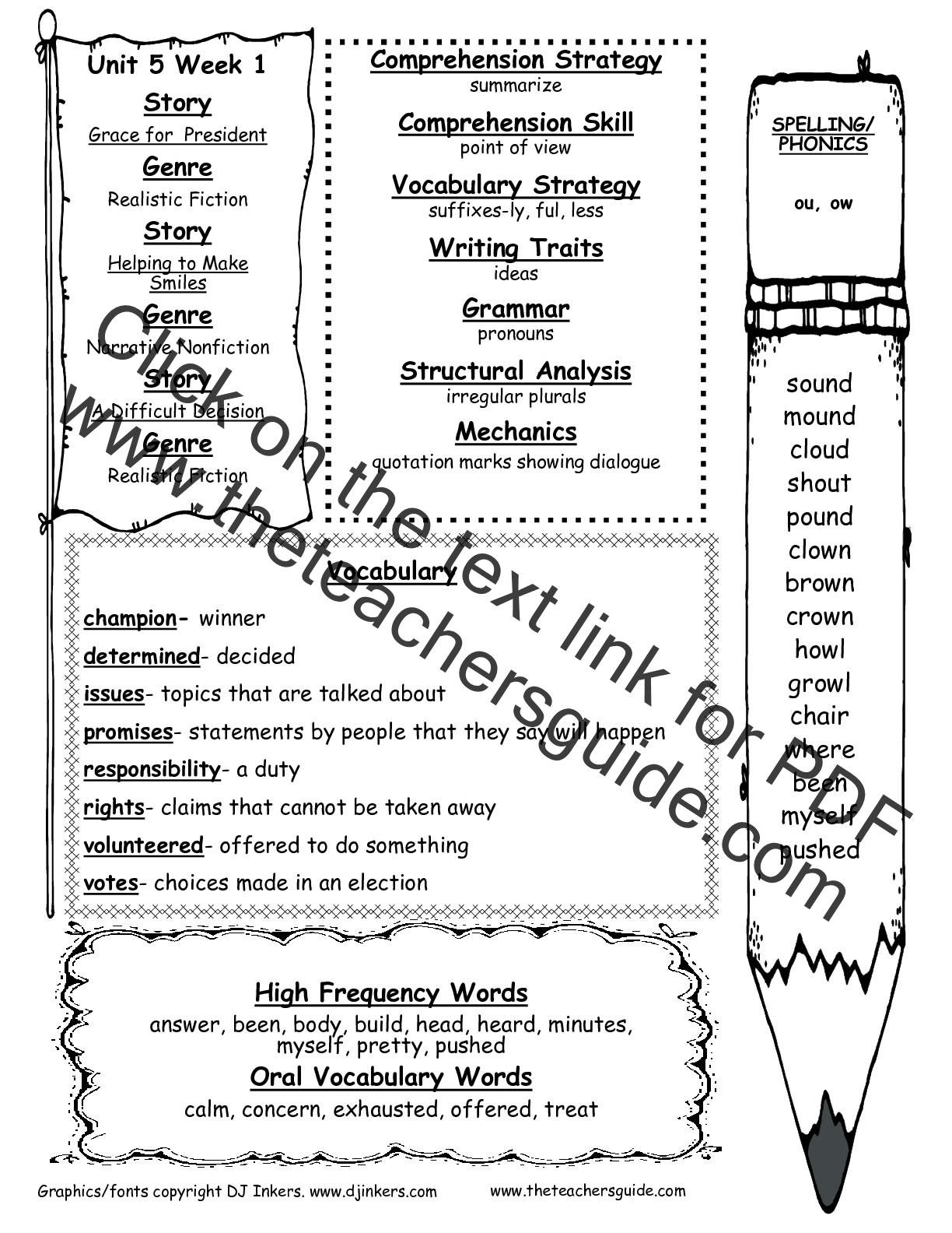 hight resolution of Wonders Second Grade Unit Five Week One Printouts