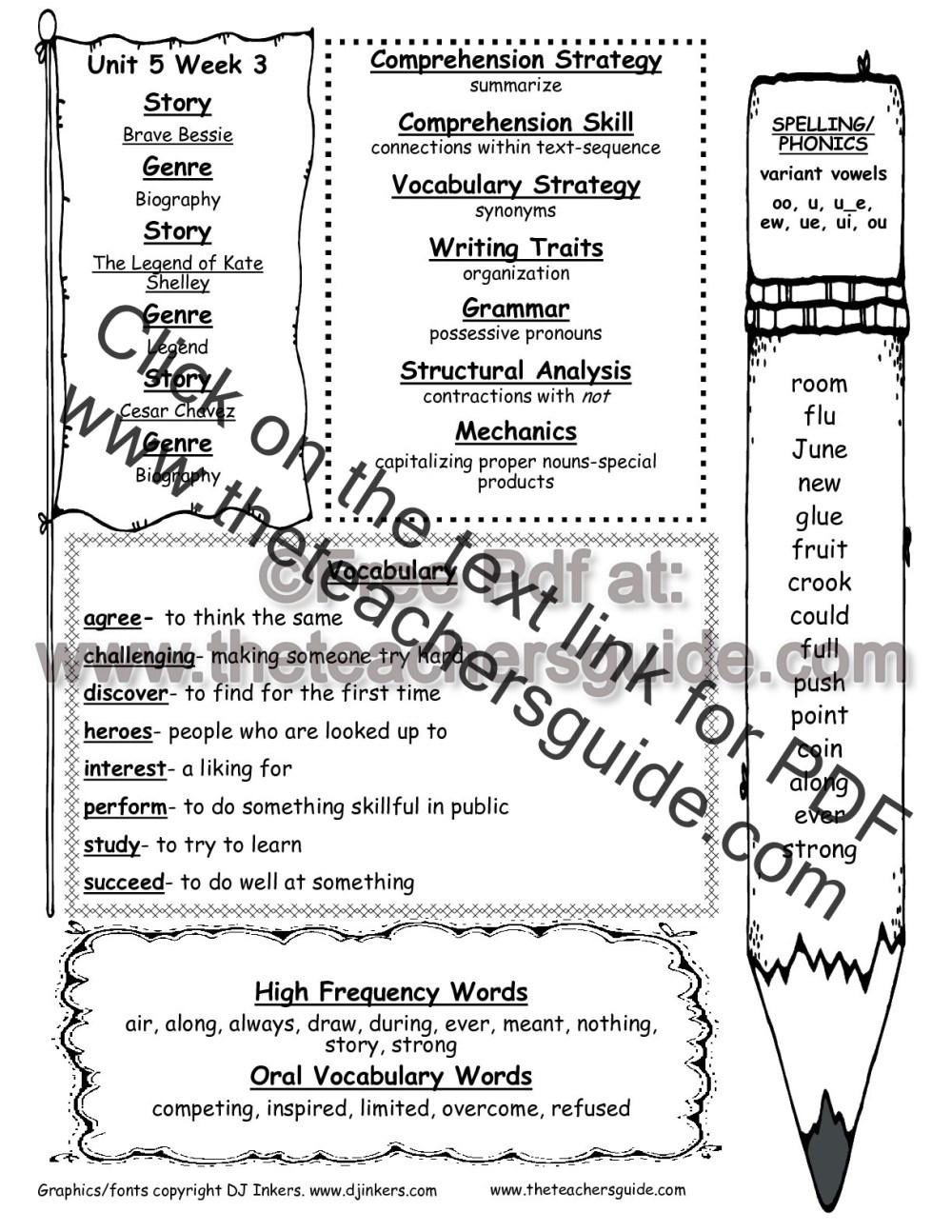 medium resolution of Wonders Second Grade Unit Five Week Three Printouts