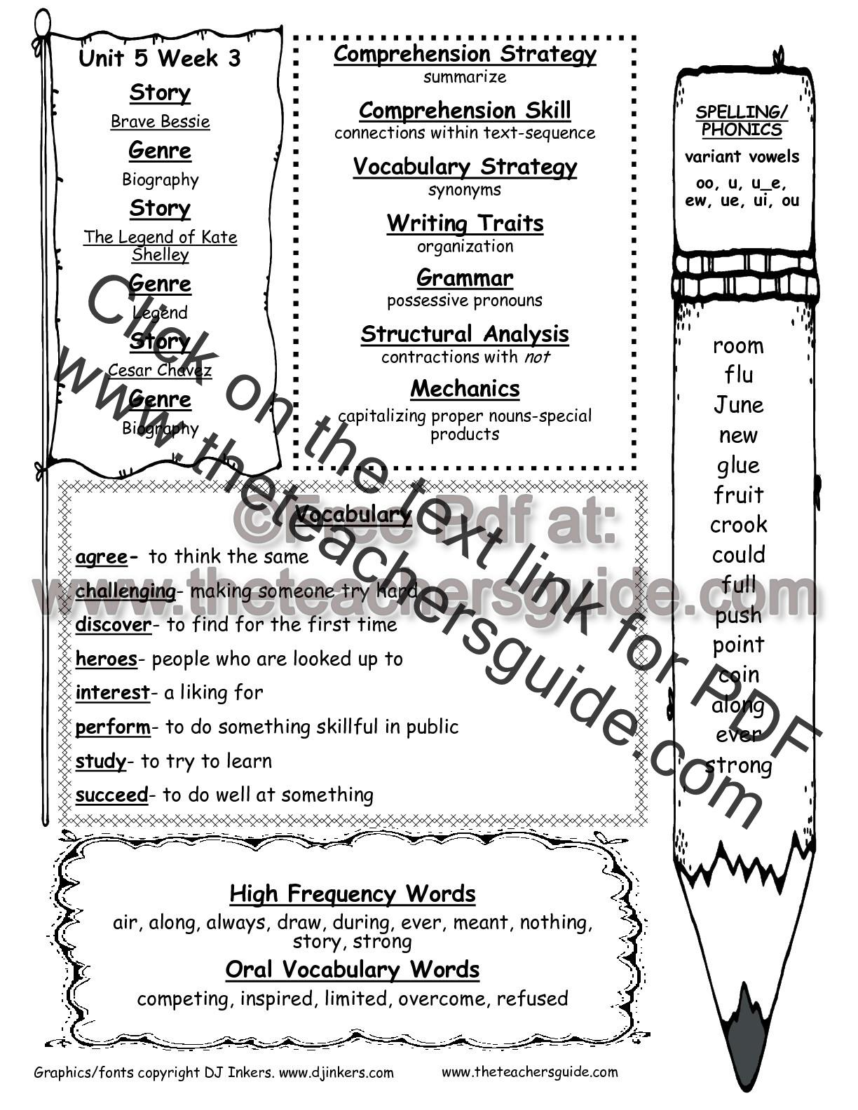 hight resolution of Wonders Second Grade Unit Five Week Three Printouts
