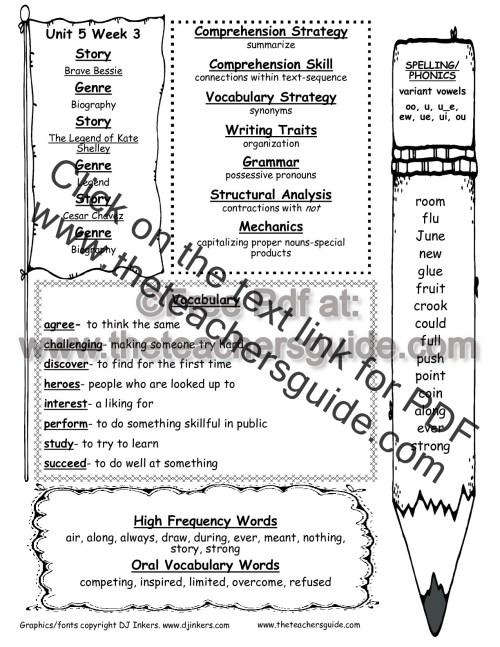 small resolution of Wonders Second Grade Unit Five Week Three Printouts