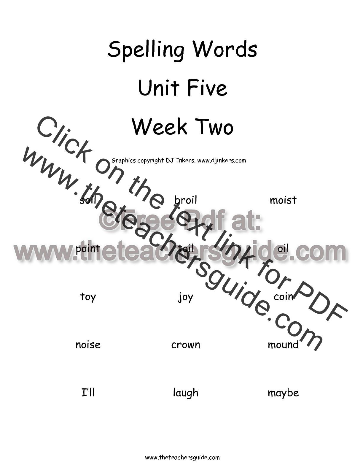 Wonders Second Grade Unit Five Week Two Printouts