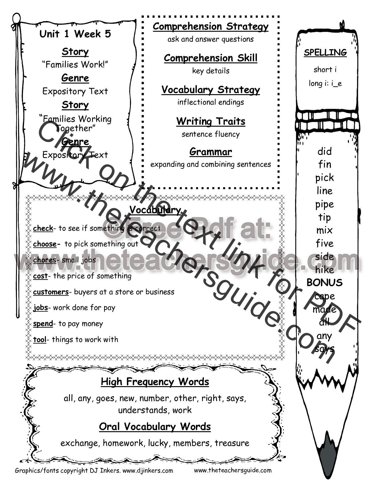 hight resolution of Wonders Second Grade Unit One Week Five Printouts