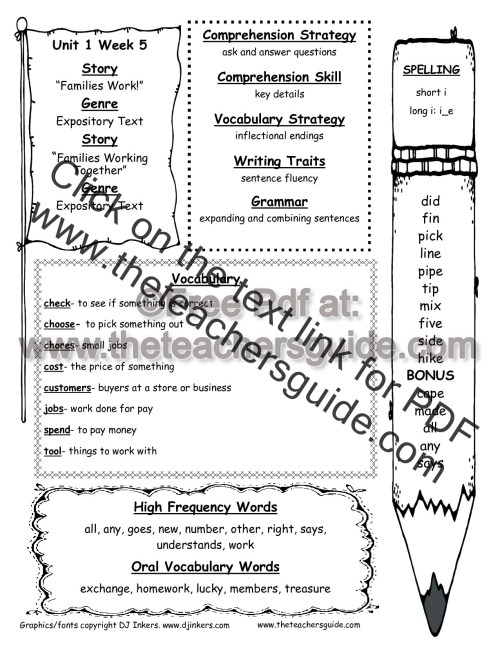 small resolution of Wonders Second Grade Unit One Week Five Printouts