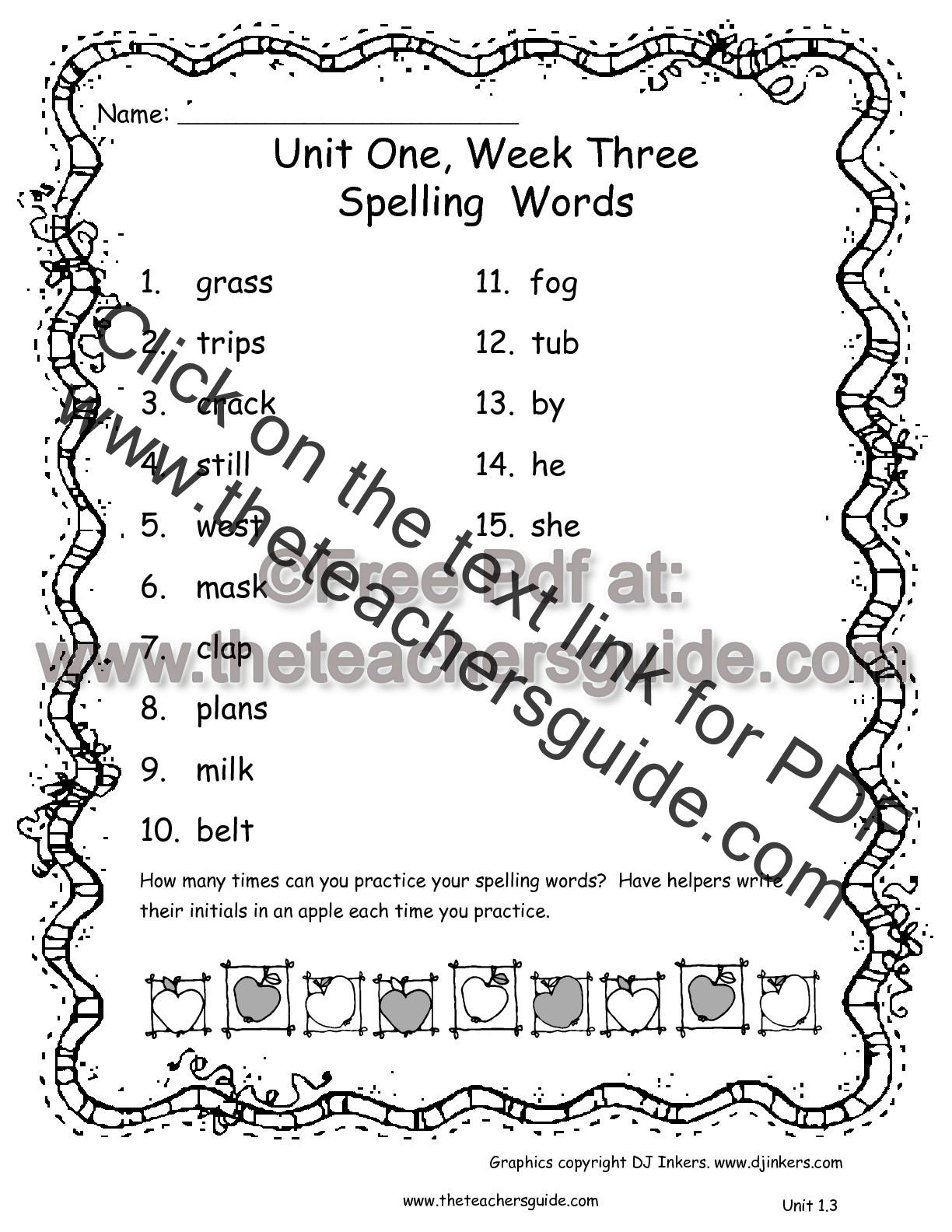Wonders Second Grade Unit One Week Three Printouts