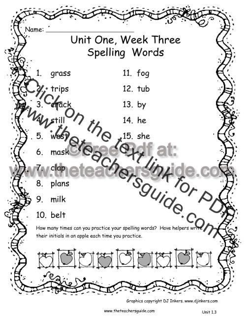 small resolution of Wonders Second Grade Unit One Week Three Printouts