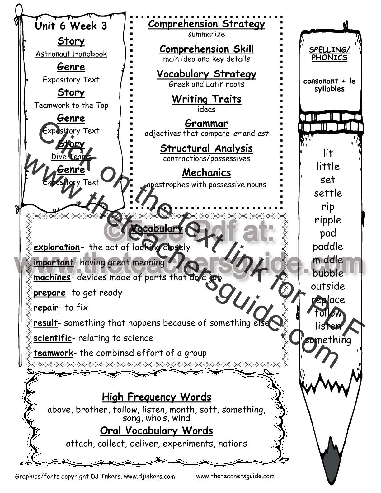 hight resolution of Wonders Second Grade Unit Six Week Three Printouts