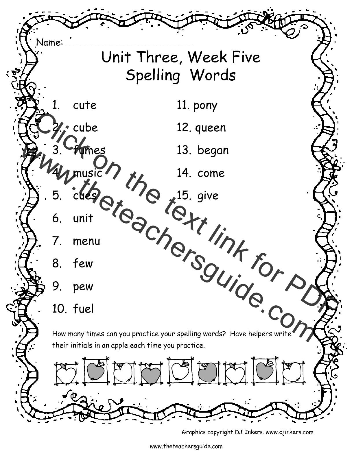 Wonders Second Grade Unit Three Week Five Printouts