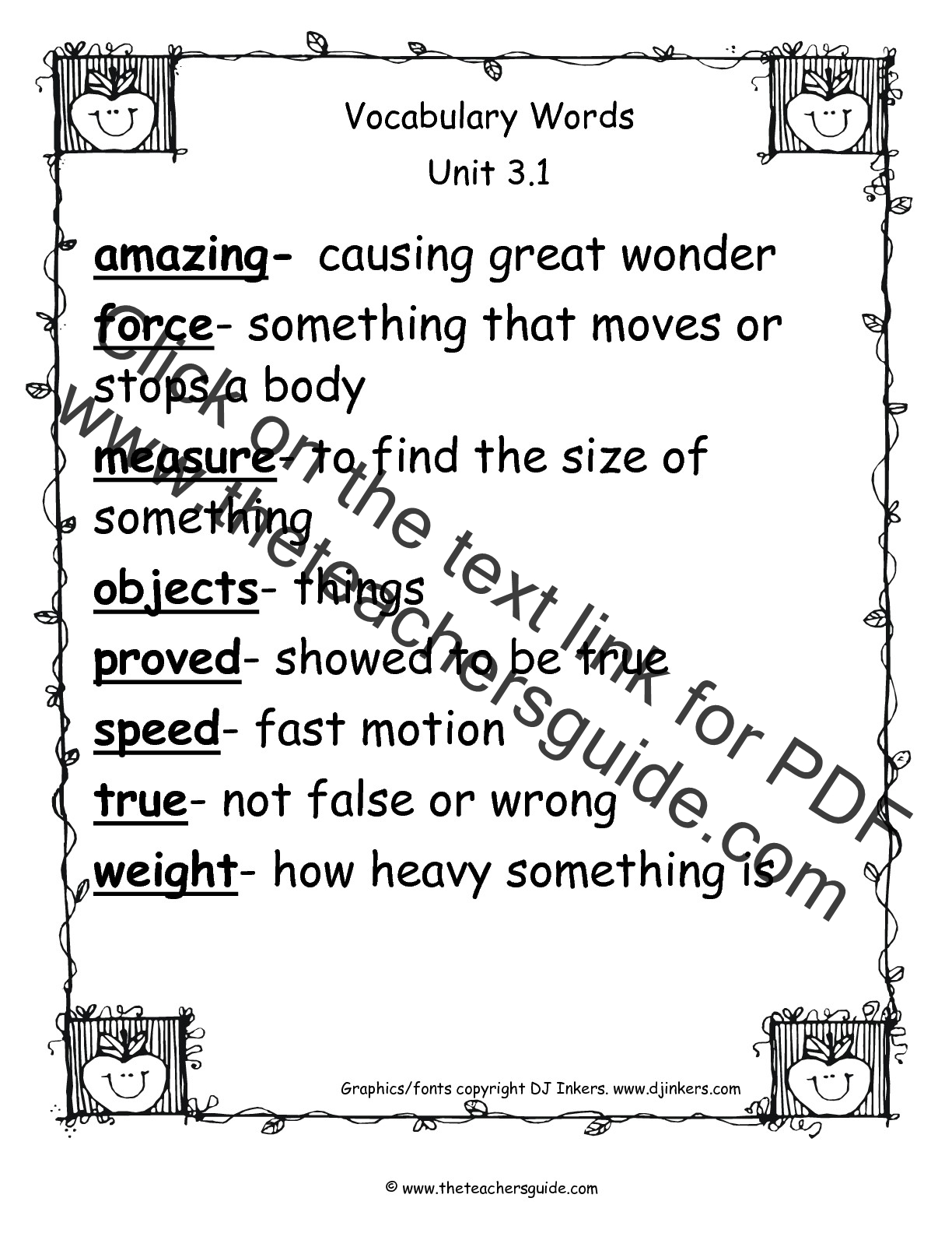 4th Grade Vocabulary Words