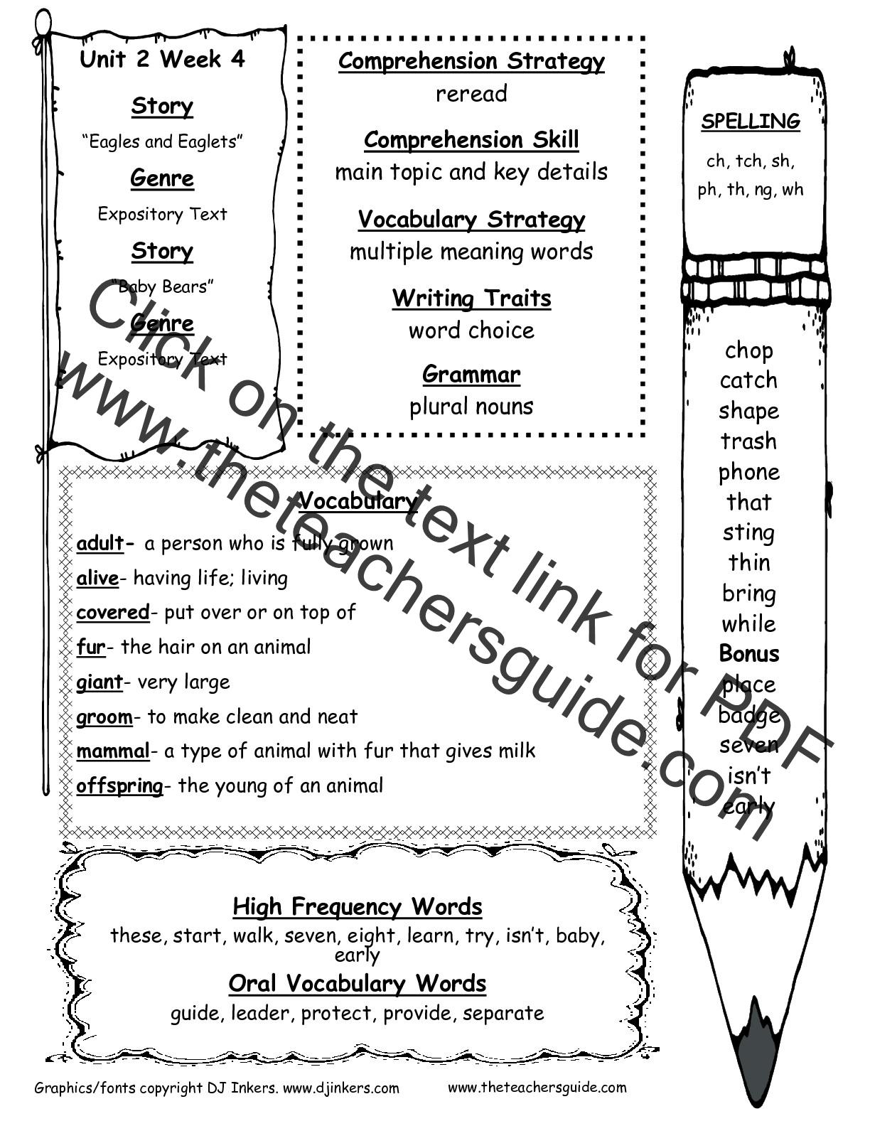 Wonders Second Grade Unit Two Week Four Printouts
