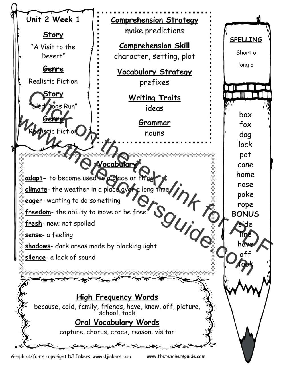 medium resolution of Wonders Second Grade Unit Two Week One Printouts