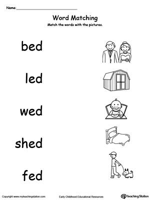 Preschool Word Families Printable Worksheets