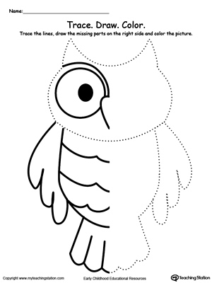Trace And Draw Missing Lines To Make An Owl