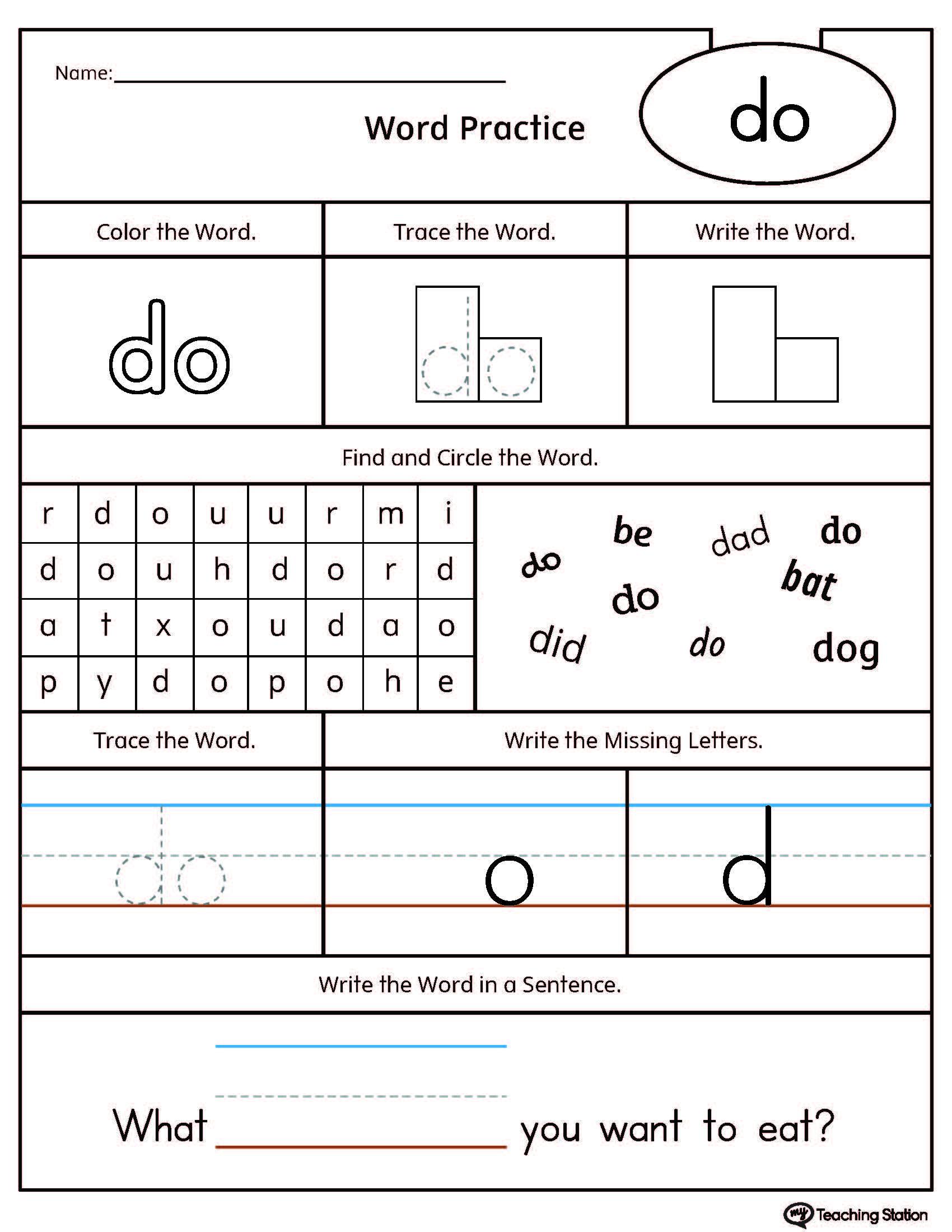K12 Learning Worksheet