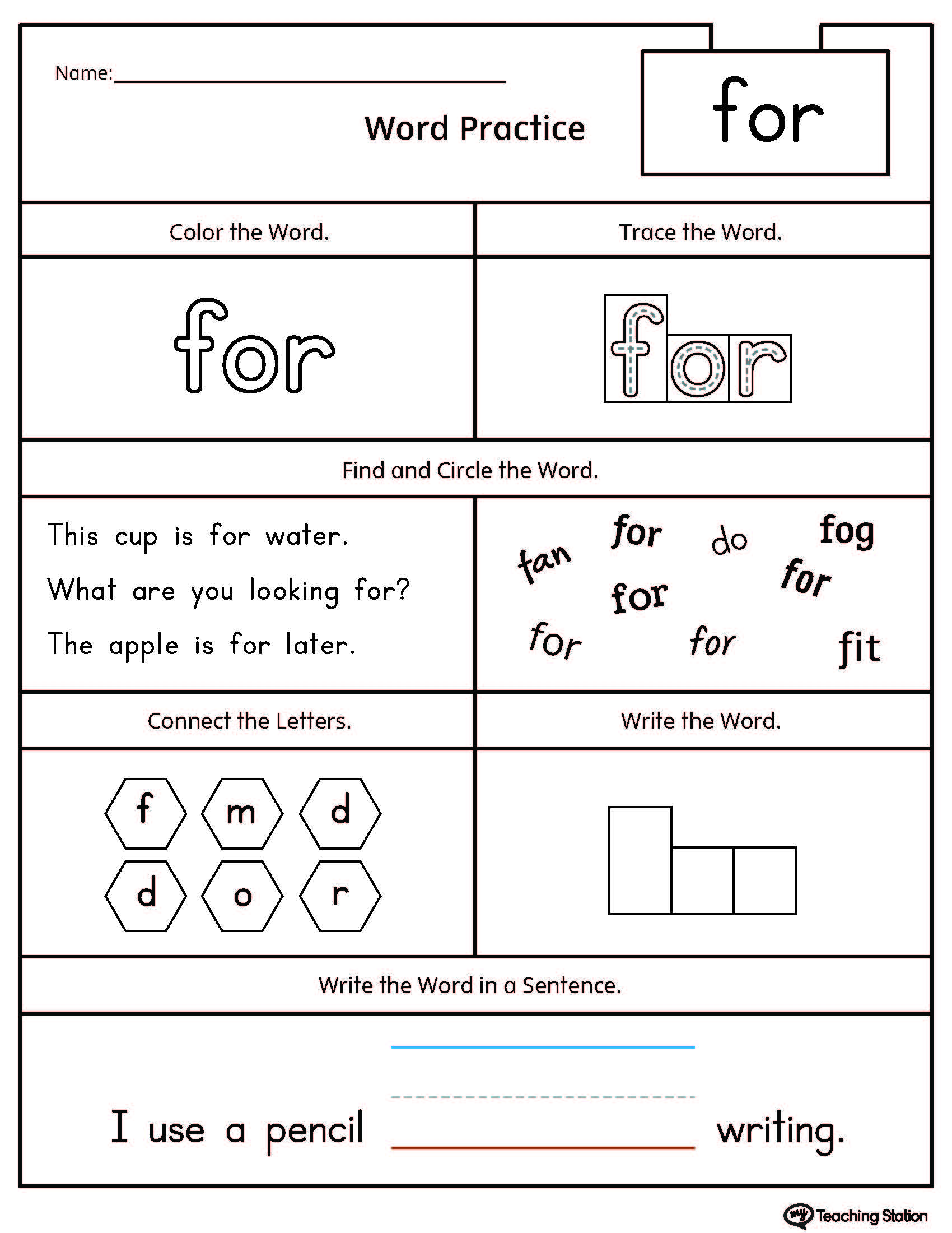 66 Sight Word Sentence Writing Worksheets