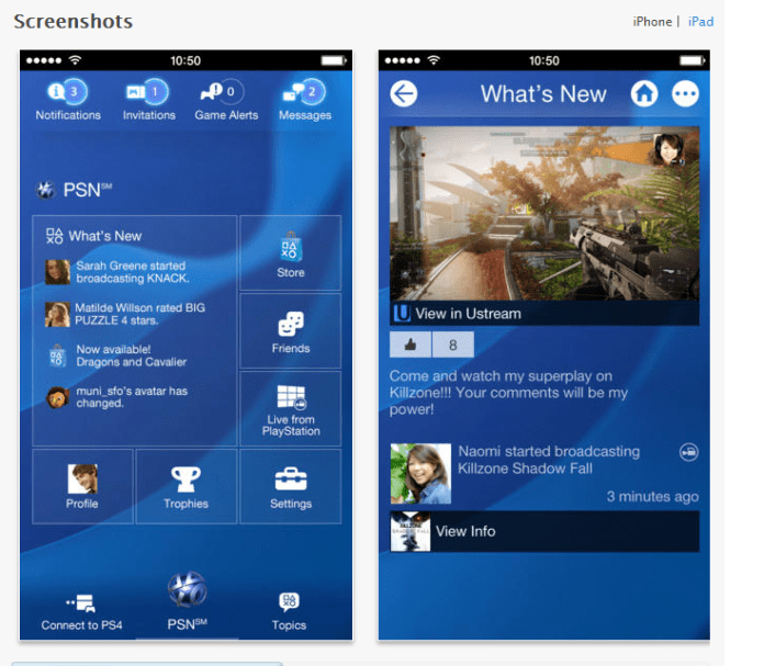 Playstation app for iOS