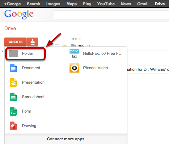 how to get to google docs folder