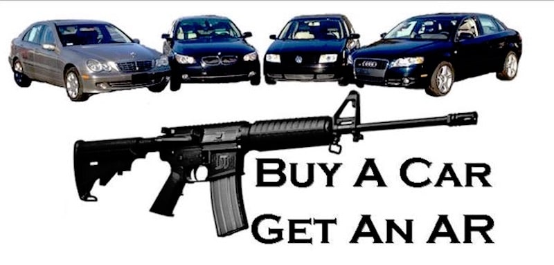 The 'Buy a Car get an AR' banner image from Hagan Motor Pool's Facebook page