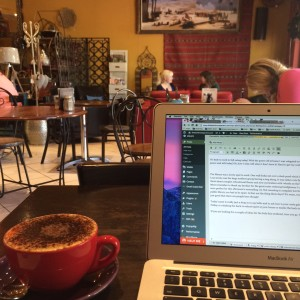 writing at a local cafe free wifi no power