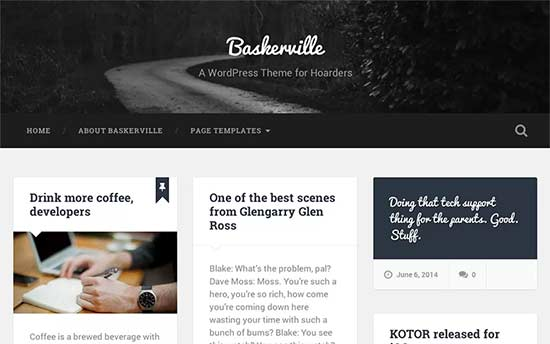 wordpress template free responsive baskerville