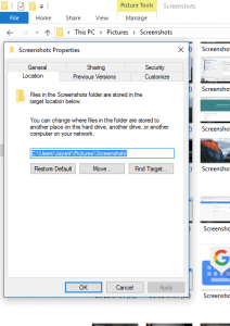 change screenshot location windows