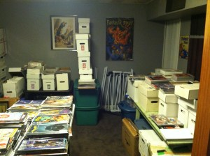 "The entire comic collection as it existed after a few years of not organizing, just making ""deposits."""