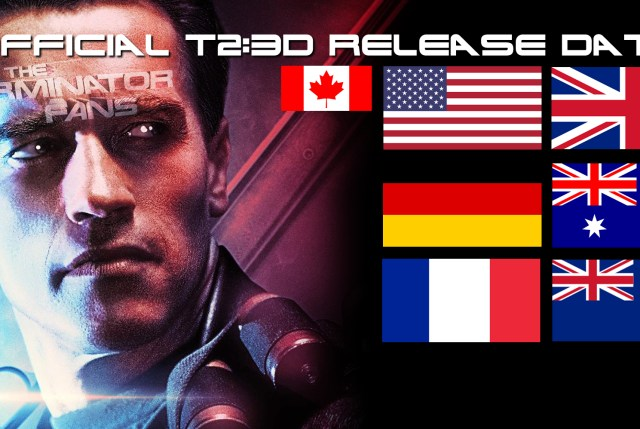 Terminator 2: Judgment Day 3D Worldwide Release Schedule Countries and dates