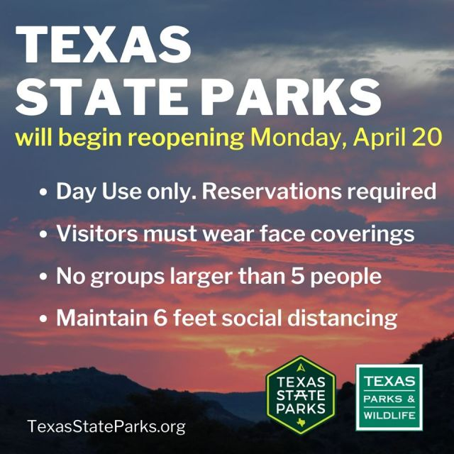 Texas State Parks to Reopen