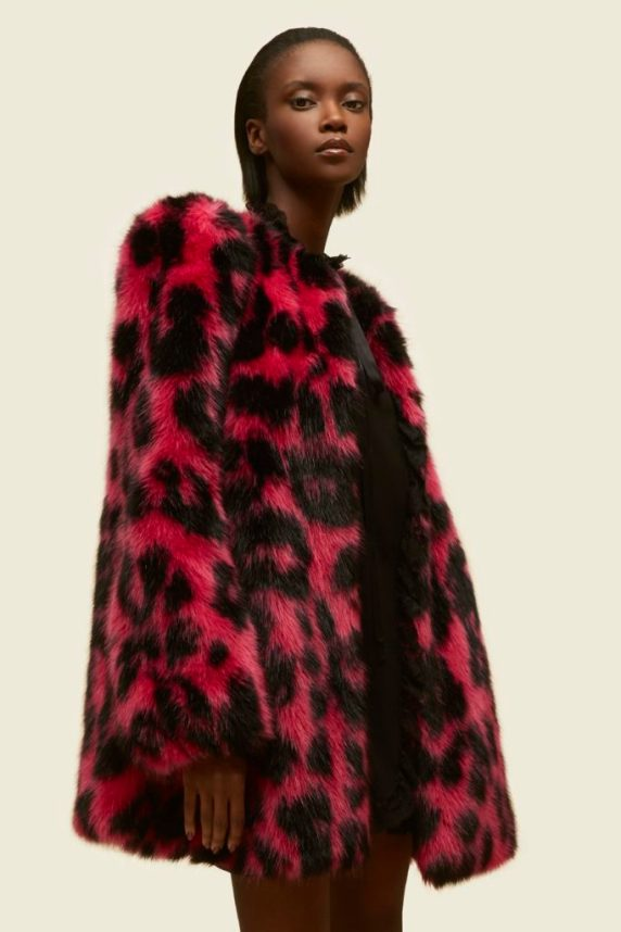 Faux Fur Coat With Pin