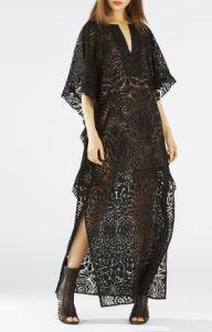 BCBG Demeka Ruffled Wing Kaftan Lace Dress