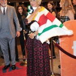 Helen Mirren in a Hudson's Bay signature striped shawl on the red carpet at the 'Trumbo' premiere during the Toronto International Film Festival on September 11, 2015. Photo credit: George Pimentel