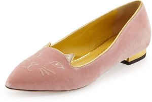 Charlotte Olympia Mid-Century Velvet Kitty Flat, Pale Pink