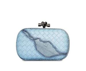 Bottega Veneta Woven Knot Snake-Inset Clutch Bag, Ciel Baby Blue