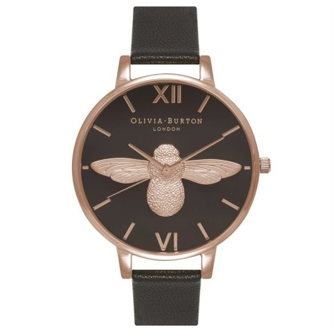 Olivia Burton Animal Motif Watch - Black & Rose Gold