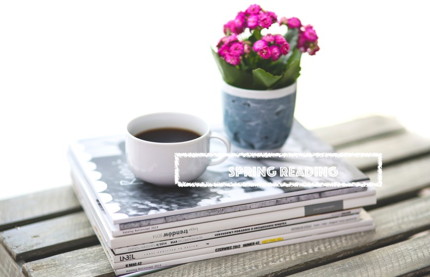coffee, magazines and flowers