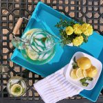 lemon and water, tray and patio