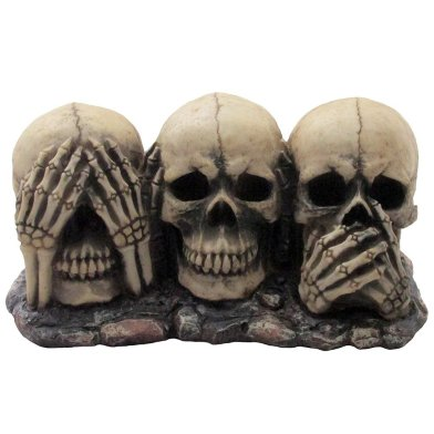 No Evil Skulls Figurine for Scary Halloween Decorations and Spooky Skeleton Statues & Medieval Fantasy Home Decor Sculptures and Gothic Gifts by Home-n-Gifts