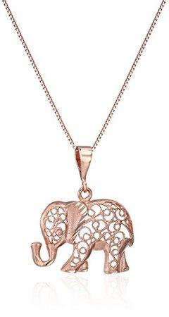 "14k Diamond-Cut Elephant Pendant Necklace, 18"""