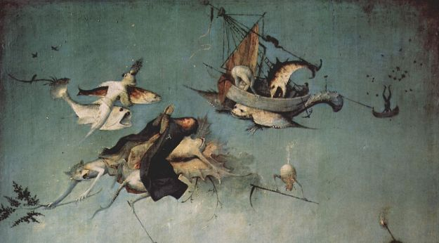 St. Anthony being carried into the sky by demons, The Temptation of St. Anthony by Hieronymus Bosch.