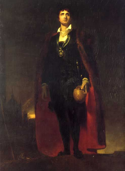 English actor John Philip Kemble as Hamlet by Sir Thomas Lawrence via Wikimedia Commons.