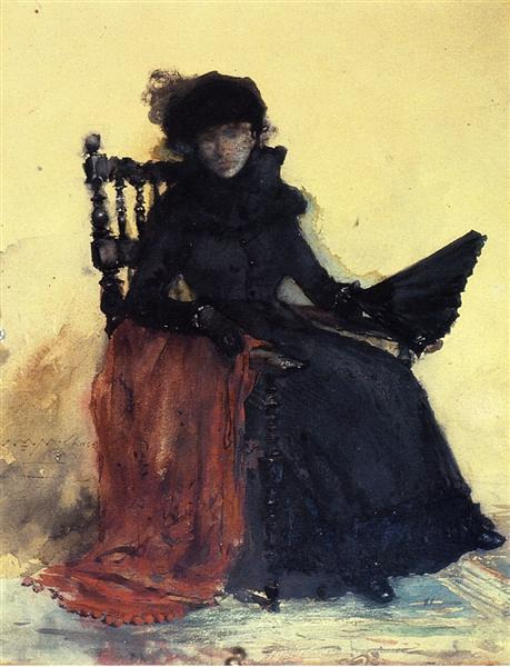 A Lady in Black (aka The Red Shawl) by William Merritt Chase. Image via Wikiart.org