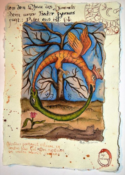 Double Ouroboros, from Abraham Eleazar, Uraltes Chymisches Werk (1760), image 1. Freehand adaptation by Sasha Chaitow.
