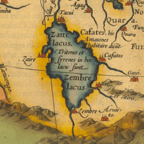 "Detail from ""A Description of The Empire of Prester John, Also Known as the Abyssinian Empire"". Map produced in the sixteenth century by Ortelius. The Latin inscription reads: ""There are sirens in this lake."""